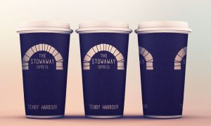 The Stowaway Coffee Co. Cream logo Cups