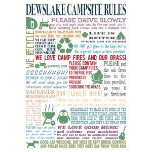 Dewslake Camping Rules Poster