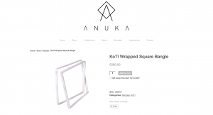 Anuka Jewellery Online Shop Product Page