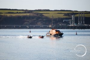 51racing alongside Tenby Lifeboat
